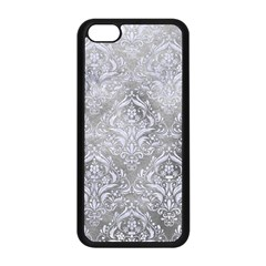 Damask1 White Marble & Silver Paint Apple Iphone 5c Seamless Case (black) by trendistuff