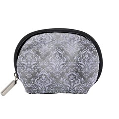 Damask1 White Marble & Silver Paint Accessory Pouches (small)  by trendistuff