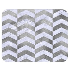 Chevron2 White Marble & Silver Paint Double Sided Flano Blanket (medium)  by trendistuff