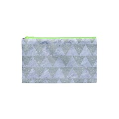 Triangle2 White Marble & Silver Glitter Cosmetic Bag (xs) by trendistuff