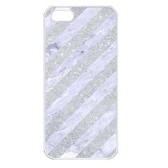 Stripes3 White Marble & Silver Glitter (r) Apple Iphone 5 Seamless Case (white) by trendistuff