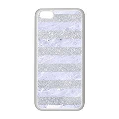 Stripes2white Marble & Silver Glitter Apple Iphone 5c Seamless Case (white) by trendistuff