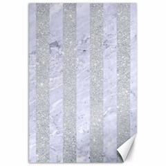 Stripes1 White Marble & Silver Glitter Canvas 20  X 30   by trendistuff