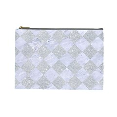 Square2 White Marble & Silver Glitter Cosmetic Bag (large)  by trendistuff
