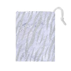 Skin3 White Marble & Silver Glitter (r) Drawstring Pouches (large)  by trendistuff