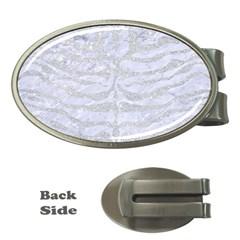 Skin2 White Marble & Silver Glitter (r) Money Clips (oval)  by trendistuff