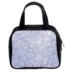 Skin1 White Marble & Silver Glitter Classic Handbags (2 Sides) by trendistuff