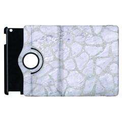 Skin1 White Marble & Silver Glitter Apple Ipad 2 Flip 360 Case by trendistuff