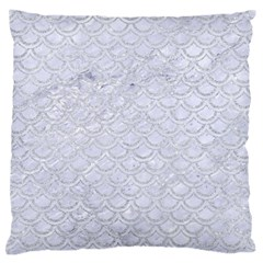 Scales2 White Marble & Silver Glitter (r) Large Flano Cushion Case (two Sides) by trendistuff