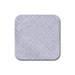 Scales2 White Marble & Silver Glitter Rubber Square Coaster (4 Pack)  by trendistuff