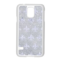 Royal1 White Marble & Silver Glitter (r) Samsung Galaxy S5 Case (white) by trendistuff