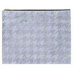 Houndstooth1 White Marble & Silver Glitter Cosmetic Bag (xxxl)  by trendistuff