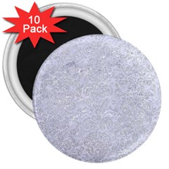 Damask2 White Marble & Silver Glitter (r) 3  Magnets (10 Pack)  by trendistuff