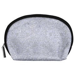 Damask2 White Marble & Silver Glitter Accessory Pouches (large)  by trendistuff