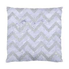 Chevron9 White Marble & Silver Glitter (r) Standard Cushion Case (two Sides) by trendistuff