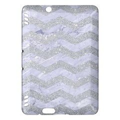 Chevron3 White Marble & Silver Glitter Kindle Fire Hdx Hardshell Case by trendistuff