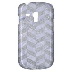 Chevron1 White Marble & Silver Glitter Galaxy S3 Mini by trendistuff