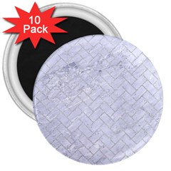 Brick2 White Marble & Silver Glitter (r) 3  Magnets (10 Pack)  by trendistuff