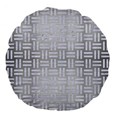 Woven1 White Marble & Silver Brushed Metal Large 18  Premium Flano Round Cushions by trendistuff