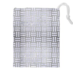 Woven1 White Marble & Silver Brushed Metal Drawstring Pouches (xxl) by trendistuff