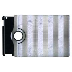 Stripes1 White Marble & Silver Brushed Metal Apple Ipad 3/4 Flip 360 Case by trendistuff
