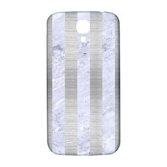 Stripes1 White Marble & Silver Brushed Metal Samsung Galaxy S4 I9500/i9505  Hardshell Back Case by trendistuff
