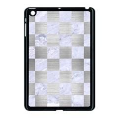 Square1 White Marble & Silver Brushed Metal Apple Ipad Mini Case (black) by trendistuff