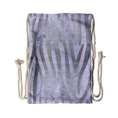 Skin4 White Marble & Silver Brushed Metal Drawstring Bag (small) by trendistuff