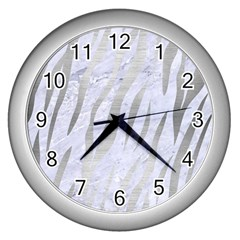 Skin3 White Marble & Silver Brushed Metal (r) Wall Clocks (silver)  by trendistuff