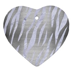 Skin3 White Marble & Silver Brushed Metal Heart Ornament (two Sides) by trendistuff