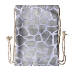 Skin1 White Marble & Silver Brushed Metal (r) Drawstring Bag (large) by trendistuff