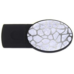 Skin1 White Marble & Silver Brushed Metal Usb Flash Drive Oval (2 Gb) by trendistuff