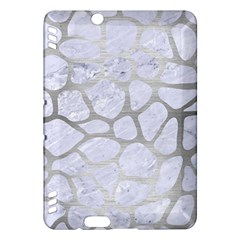 Skin1 White Marble & Silver Brushed Metal Kindle Fire Hdx Hardshell Case by trendistuff