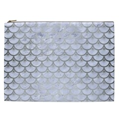 Scales3 White Marble & Silver Brushed Metal (r) Cosmetic Bag (xxl)  by trendistuff