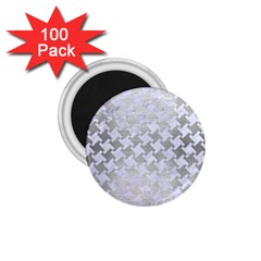 Houndstooth2 White Marble & Silver Brushed Metal 1 75  Magnets (100 Pack)  by trendistuff