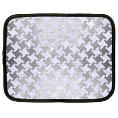 Houndstooth2 White Marble & Silver Brushed Metal Netbook Case (large)