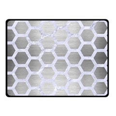 Hexagon2 White Marble & Silver Brushed Metal Double Sided Fleece Blanket (small)  by trendistuff