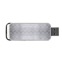 Hexagon1 White Marble & Silver Brushed Metal Portable Usb Flash (two Sides) by trendistuff