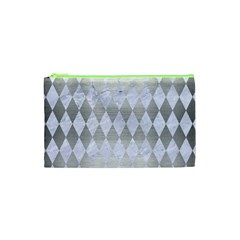 Diamond1 White Marble & Silver Brushed Metal Cosmetic Bag (xs) by trendistuff