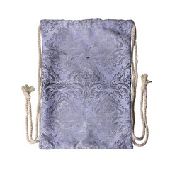 Damask1 White Marble & Silver Brushed Metal (r) Drawstring Bag (small) by trendistuff
