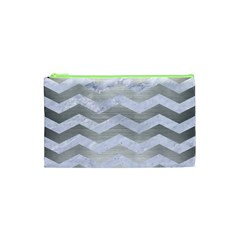 Chevron3 White Marble & Silver Brushed Metal Cosmetic Bag (xs) by trendistuff