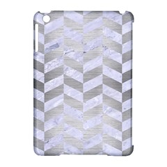 Chevron1 White Marble & Silver Brushed Metal Apple Ipad Mini Hardshell Case (compatible With Smart Cover) by trendistuff