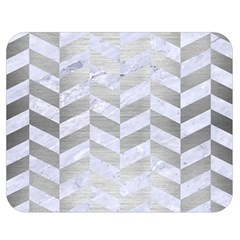 Chevron1 White Marble & Silver Brushed Metal Double Sided Flano Blanket (medium)  by trendistuff