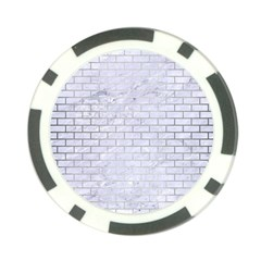 Brick1 White Marble & Silver Brushed Metal (r) Poker Chip Card Guard by trendistuff