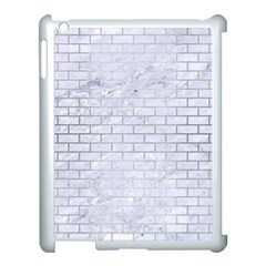 Brick1 White Marble & Silver Brushed Metal (r) Apple Ipad 3/4 Case (white) by trendistuff