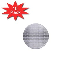 Brick1 White Marble & Silver Brushed Metal 1  Mini Magnet (10 Pack)  by trendistuff