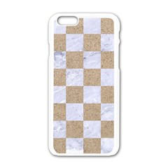 Square1 White Marble & Sand Apple Iphone 6/6s White Enamel Case by trendistuff