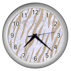 Skin3 White Marble & Sand (r) Wall Clocks (silver)  by trendistuff
