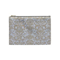 Damask2 White Marble & Sand (r) Cosmetic Bag (medium)  by trendistuff