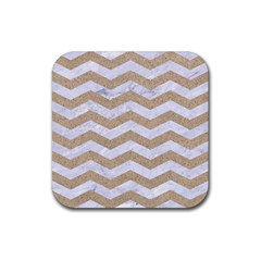 Chevron3 White Marble & Sand Rubber Square Coaster (4 Pack)  by trendistuff